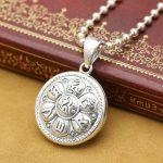 <b>Handmade</b> 925 silver tibetan om mani padme hum pendant sterling silver om lotus pendant tibetan <b>jewelry</b> pendant