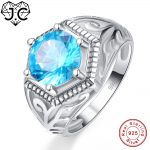 J.C Wedding Band Solitaire Fine <b>Jewelry</b> Blue Topaz Peridot Solid 925 <b>Sterling</b> <b>Silver</b> Ring Size 6 7 8 9 For Women Men Party Gifts