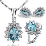 Classic design blue topaz water drop shape topaz jewelry sets ring genuine gem stone pendant necklace sterling 925 <b>silver</b> ring
