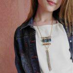 eManco statement long tassel necklace women with stone suspensions pendant geometric bohemian vintage necklace <b>Jewelry</b> 2087