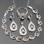 Bridal 925 Sterling Silver <b>Jewelry</b> Sets Women Wedding <b>Jewelry</b> With Rainbow Zirconia Earrings <b>Necklace</b> Ring Bracelet Set Gift Box