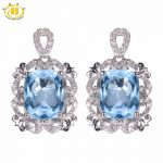 Hutang 6.79 ct Natural Gemstone Sky Blue Topaz Solid 925 <b>Sterling</b> <b>Silver</b> Romantic Earrings Fine Stone <b>Jewelry</b> For Women's Gift