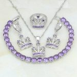Crown Purple Cubic Zirconia White Crystal 925 Silver <b>Jewelry</b> Sets For Women Party Earrings/Pendant/<b>Necklace</b>/Bracelet/Ring