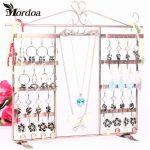 2016 Good quality 6 Hooks 64 Hole Earrings <b>Necklace</b> <b>Jewelry</b> Display Metal Stand Rack Holder Home Organizer Free Shipping