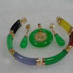 Women's Wedding <b>Jewelry</b> Multicolor gem Link Bracelet Green gem pendant Necklace Earring set 5.23 silver-<b>jewelry</b>