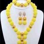 Yellow African beads <b>jewelry</b> set gold-color ball beads bride <b>jewelry</b> nigerian wedding african beads <b>jewelry</b> Set