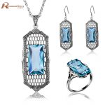 Wonderful Design Vintage Square Blue Rhinestone Crystal <b>Silver</b> 925 Nigerian Wedding African Beads Engagement Brand Jewelry Sets