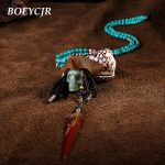 BOEYCJR Indian Pirate Style Skull Stone <b>Necklace</b> Ethnic Vintage <b>Jewelry</b> Natural Stone Long Pendant <b>Necklace</b> For Women 2018