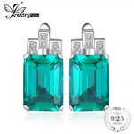 JewelryPalace Luxury 7.6ct Green Created Emerald Solid 925 Sterling <b>Silver</b> Clip <b>Earrings</b> For Women Fine Jewelry 2018 New Fashion