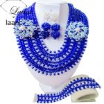<b>Handmade</b> African <b>Jewelry</b> Set Royal Blue and Clear ab Crystal Necklace Clip Earrings AL110