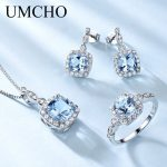 UMCHO Elegant 925 Sterling <b>Silver</b> Jewelry Necklaces Rings <b>Earrings</b> Created Sky Blue Topaz Jewelry Set For Women Wedding Gifts