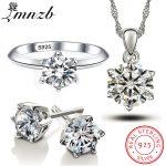LMNZB 100% Real 925 <b>Sterling</b> <b>Silver</b> <b>Jewelry</b> Sets for Women Cubic Zirconia Ring Necklace Earrings Sets Bride <b>Jewelry</b> Set LS1263