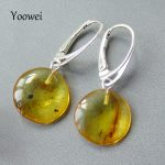 Yoowei Natural Flying Amber Earring Authentic Female Luxury Gift Dangle Drop Earring Genuine Insect Bugs Amber <b>Jewelry</b> Wholesale
