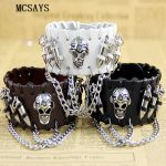 MCSAYS Rocker Punk <b>Jewelry</b> Stainless Steel Skull head and Bullet Decoration Leather Bracelet Hipster Gothic Bangle <b>Accessory</b> 4HD