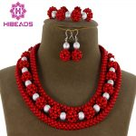 Hot Sale Style African <b>Jewelry</b> Beads Set <b>Handmade</b> Necklace Women Fashion Red Coral Beads Silver Set Free Shipping ABC1127