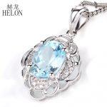 HELON Oval 9x7mm 2.48ct Sky Blue Topaz Pendant <b>Sterling</b> <b>Silver</b> 925 Pave Natural Diamonds Wedding Pendant For Women Fine <b>Jewelry</b>