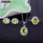 ZHHIRY Women Natural Peridot Gemstone Genuine 925 Sterling <b>Silver</b> Jewelry Sets Ring <b>Earring</b> Pendant Chain Fine Jewelry