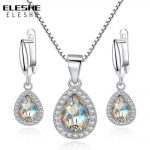 ELESHE 2017 Fashion 925 Sterling Silver Water Drop Pendant <b>Necklace</b> Earrings for Women Austrian Crystal Wedding <b>Jewelry</b> Sets