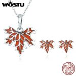 WOSTU 100% Pure 925 Sterling <b>Silver</b> Red Enamel Canada Maple Leaf Chain <b>Necklace</b> and Stud Earrings Jewelry Set for Women Gift