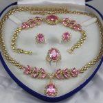 Women's Wedding women's <b>jewelry</b> Pink Crystal Gem yellow Earring Bracelet Necklace Ring+box 5.27 real silver-<b>jewelry</b>