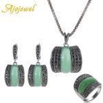 Ajojewel Original Designer Antique Silver Color Women <b>Jewelry</b> Set Geometric Green Stone Ring Necklace And Earrings Sets