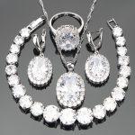 <b>Silver</b> 925 Jewelry Zirconia Costume Bridal Jewelry Sets For Women Luxury Earrings Wedding Necklace Rings <b>Bracelets</b> Set Gift Box
