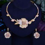 GODKI Flower Leaf Wreath Luxury 2 Tone Women <b>Wedding</b> Naija Bridal Cubic Zirconia Necklace Dubai Dress <b>Jewelry</b> Set