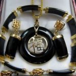 Women's Wedding New <b>Jewelry</b> Black gem pendant necklace bracelet earrings sets 5.23 silver- moda real silver mujer fine quality