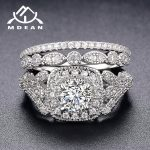 MDEAN White Gold Color Engagement Rings Set for Women <b>Wedding</b> Clear AAA Zircon Fashion <b>Jewelry</b> Bague Bijoux Size 6 7 8 9 H063