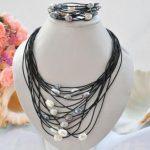 Elegant <b>Handmade</b> Real Pearl <b>Jewelry</b> Set 15row 13mm Black Gray White Rice Freshwater Pearl Black Leather Necklace Bracelet