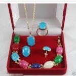 Prett Lovely Women's Wedding <b>Jewelry</b> multicolor gem pendant bracelet ring earring Set silver-<b>jewelry</b> brinco