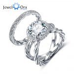 Luxury Ring Sets For <b>Wedding</b> 10mm 3.5 CT Hearts And Arrows Cubic Zirconia 925 Sterling Silver <b>Jewelry</b> (JewelOra RI102338)