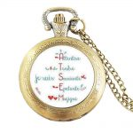 Wholesale Glass 1pcs/lot <b>jewelry</b> Handmade merci maitresse pocket watch bronze <b>Antique</b> Plated holder bague for Women men quartz