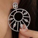 Long 62mm Luxury Knight Symbol Flower Cubic Zirconia Women <b>Wedding</b> Bridal Earring <b>Jewelry</b> Collection