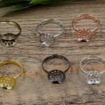 100pcs 14mm Round Pad ring blank Cameo Tray,Bronze/Gold/Silver Ring setting,<b>Handmade</b> DIY Zakka <b>jewelry</b> Finding