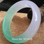 Beautiful Natural White Green Bangle <b>Handmade</b> Bracelet Fashion woman's White Green Bangles Fine <b>Jewelry</b> 55-62mm