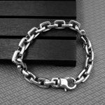 Solid <b>Sterling</b> <b>Silver</b> 925 Simple Thick Chain Bracelet For Men Bold Chunky Chain Cool Thai <b>Silver</b> Mens <b>Jewelry</b> Rock Star Bijoux