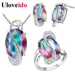 50% Off Uloveido Wedding <b>Jewelry</b> Sets for Women Brides Stud Earrings Ring Necklace Bridal <b>Jewelry</b> Set Costume Jewelery Sets T155