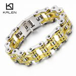 Kalen 20cm Bike Link Chain <b>Bracelet</b> Men's 316L Stainless Steel Heavy Chunky <b>Silver</b> Color Bicycle Chain <b>Bracelet</b> Male Accessories