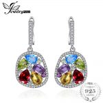 JewelryPalace Luxury 5.3ct Genuine Amethyst Garnet Peridot Blue Topaz Dangle Earrings Fine <b>Jewelry</b> Nice Gift For Woman/daughter