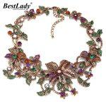 Best lady New <b>Fashion</b> Luxury Brand za flower Pendants & Necklaces Vintage Crystal Flowers Collar Statement Necklace <b>Jewelry</b> B431