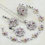 Flower Multicolor Zircon 925 Silver <b>Jewelry</b> Sets For Women Wedding Earrings/Pendant/Ring/Bracelet/Necklace Set