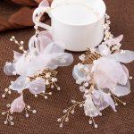 Korean pink yarn flower crystal pearl <b>handmade</b> long bridal hair comb hair <b>jewelry</b> wholesale women hair ornament
