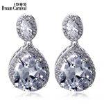 DreamCarnival 1989 Fashion Gift Luxury <b>Wedding</b> <b>Jewelry</b> Silver 925 Metal CZ Stones Women Love Drop Earrings Dangles SE07490R