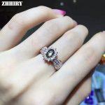 Natural Sapphire Star Stone Ring Genuine Solid 925 <b>Sterling</b> <b>Silver</b> Women Gem Fine <b>Jewelry</b> ZHHIRY