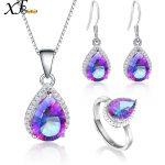 XF800 925 Sterling <b>Silver</b> Jewelry Genuine Gem Stone Rainbow Mystic Topaz Crystal Necklace Pendant Ring <b>Earrings</b> Wedding [T236]