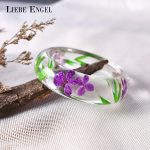LIEBE ENGEL <b>Fashion</b> Clear Resin Bangle Bracelet With Real Dried Flower Leaf Cuff Indian <b>Jewelry</b> Love Bracelet Women High Quality