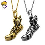 Vintage Wings Shoes Pendant Men Necklaces Stainless Steel Chains <b>Antique</b> Gold Color Freestyle Street Parkour <b>Jewelry</b> Women