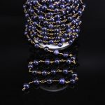Wholesales Blue Goldstone 8mm Smooth Round Bead Rosary Chain,Brass Wire Wrapped Blue Stone Chain DIY <b>Necklace</b> bracelet <b>Jewelry</b>