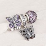 Fits Pandora Charms Bracelet and <b>Necklace</b> 925 Sterling <b>Silver</b> charm sets sparkling Beads/Butterfly DIY design Drop Shipping